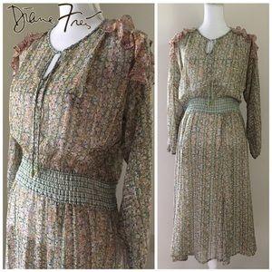 Vintage Diane Freis floral Boho Ruffle Dress OS